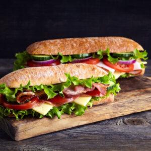 Carte des sandwiches, pâtes, …